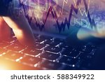 Forex Online Player. Forex Currency Trading Online Concept with Hands on the Laptop and Trading Stats.  - stock photo