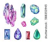 watercolor jewelry illustration ...   Shutterstock . vector #588353945