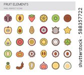 fruit   thin line and pixel... | Shutterstock .eps vector #588357722
