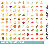 100 breakfast icons set in... | Shutterstock .eps vector #588358562