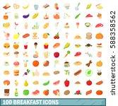 100 breakfast icons set in... | Shutterstock .eps vector #588358562