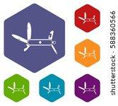 swiss multipurpose knife icons... | Shutterstock .eps vector #588360566