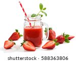 strawberry smoothie decorated... | Shutterstock . vector #588363806