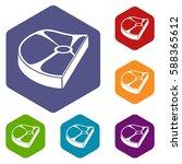 steak icons set rhombus in...   Shutterstock .eps vector #588365612