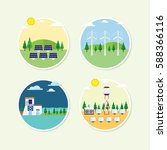 renewable energy circle icon... | Shutterstock .eps vector #588366116