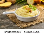 mashed potatoes with roasted... | Shutterstock . vector #588366656