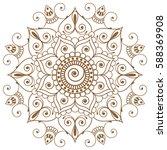 mehndi henna brown indian... | Shutterstock .eps vector #588369908