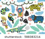 Stock vector vector summer tropical patterns with animals in cartoon style cute design for textile wallpaper 588383216