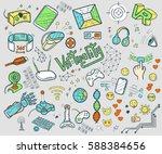 hand drawn vector happy easter...   Shutterstock .eps vector #588384656