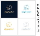 elephant line company logo.... | Shutterstock .eps vector #588394922