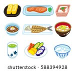 isolated food set for japanese... | Shutterstock .eps vector #588394928