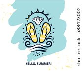 freehand drawn image with sun ... | Shutterstock .eps vector #588423002