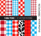 farm picnic tablecloth gingham... | Shutterstock .eps vector #588424136