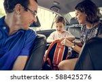 family trip travel journey... | Shutterstock . vector #588425276