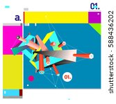 vector of triangle geometric 3d ... | Shutterstock .eps vector #588436202