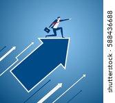 businessman on growth arrow... | Shutterstock .eps vector #588436688