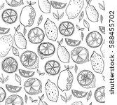 black and white fruit seamless... | Shutterstock .eps vector #588455702