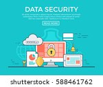 linear flat data security... | Shutterstock .eps vector #588461762
