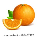 Whole Ripe Oranges And Slices....