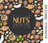 background with colored nuts... | Shutterstock .eps vector #588471182