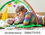 happy little kid boy with... | Shutterstock . vector #588475595