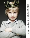 funny little boy with crown | Shutterstock . vector #588475802