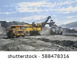 open pit coal mine. loading... | Shutterstock . vector #588478316