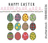 happy easter. easter eggs.... | Shutterstock .eps vector #588480236