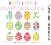 happy easter. easter eggs.... | Shutterstock .eps vector #588480242