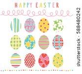 happy easter. easter eggs....   Shutterstock .eps vector #588480242