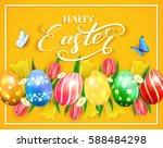 easter eggs on yellow... | Shutterstock .eps vector #588484298