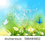 easter theme with a butterfly... | Shutterstock . vector #588484802