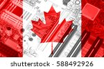 canada flag on the x ray... | Shutterstock . vector #588492926
