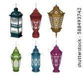 set of 6 ramadan kareem...   Shutterstock .eps vector #588493742