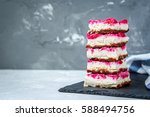 vegan raw raspberry cheesecake... | Shutterstock . vector #588494756