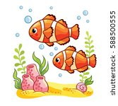 colorful sea fish reef fish  ... | Shutterstock .eps vector #588500555