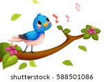 cute nightingale singing cartoon | Shutterstock .eps vector #588501086