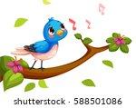 cute nightingale singing cartoon | Shutterstock .eps vector #588501086