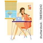 beautiful young woman wearing... | Shutterstock .eps vector #588504242