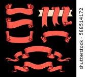 vector ribbon set. celebration... | Shutterstock .eps vector #588514172