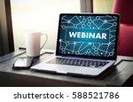 webinar man hand on table...   Shutterstock . vector #588521786