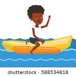 african american tourist riding ... | Shutterstock .eps vector #588534818