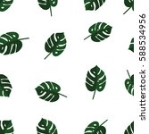 tropical palm leaves seamless... | Shutterstock .eps vector #588534956