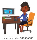 african american woman sitting... | Shutterstock .eps vector #588536306