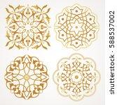 arabic round patterns set.... | Shutterstock .eps vector #588537002