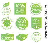 set of 100  organic product... | Shutterstock .eps vector #588538295