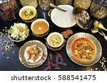 thai food set menu on table. | Shutterstock . vector #588541475
