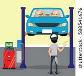 mechanic standing under car and ... | Shutterstock .eps vector #588541676