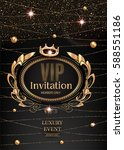 vip invitation card with gold...   Shutterstock .eps vector #588551186