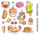 stickers set in 80s 90s pop art ... | Shutterstock .eps vector #588551822